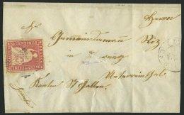 SCHWEIZ BUNDESPOST 15Ib BRIEF, 1855, 15 Rp. Hellilakarmin, 2. Münchner Druck, (Zst. 24Ad), Oben Teils Angeschnitten