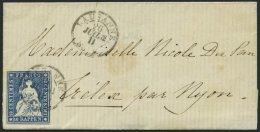 SCHWEIZ BUNDESPOST 14IIBym BRIEF, 1862, 10 Rp. Lebhaftblau, Berner Druck III, (Zst. 23G), Allseits Breitrandig Auf Klein