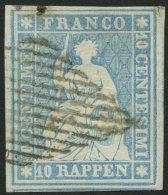 SCHWEIZ BUNDESPOST 14IIAyob O, 1855, 10 Rp. Milchblau, Berner Druck II, (Zst. 23 Ca), Allseits Breitrandig, Kleiner Vort