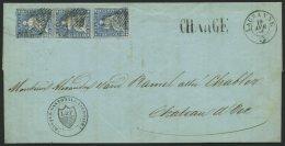 SCHWEIZ BUNDESPOST 14IIAym BRIEF, 1855, 10 Rp. Blau, Berner Druck I, (Zst. 23B), Im Senkrechten Paar Und Breitrandige Ei
