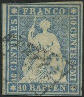 SCHWEIZ BUNDESPOST 14Ib O, 1854, 10 Rp. Mittelblau, 2. Münchener Druck, (Zst. 23A), Schmal-breitrandig, Pracht, Gep