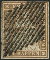 SCHWEIZ BUNDESPOST 13IIAyn BRIEF, 1855, 5 Rp. Braun, Gelber Seidenfaden, Berner Druck II, (Zst. 22Ca), Dreiseitig Breitr