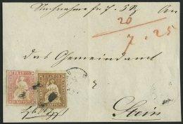 SCHWEIZ BUNDESPOST 13,15IIAym BrfStk, 1855, 5 Rp. Graubraun (vollrandig, Oberrandstück) Mit 15 Rp. Rosa (dreiseitig