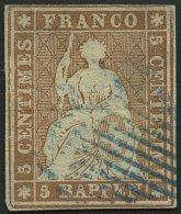 SCHWEIZ BUNDESPOST 13Ib O, 1854, 5 Rp. Braun, 2. Münchner Druck, (Zst. 22Ab), Blaue Raute, Fast Vollrandig, Feinst