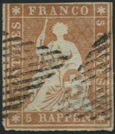 SCHWEIZ BUNDESPOST 13Ia O, 1854, 5 Rp. Braunorange, 1. Münchener Druck, (Zst. 22Aa), Mit Klischeefehler: Unterer Kr