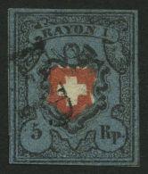 SCHWEIZ BUNDESPOST 7II O, 1850, 5 Rp. Schwarz/zinnoberrot Auf Blau, Ohne Kreuzeinfassung, (Zst. 15IIa), Type 14, Mit Sch