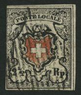 SCHWEIZ BUNDESPOST 6Ib O, 1850, 21/2 Rp. Poste Locale, Type 40, Unten Abgenutzte Rotdruckplatte, Leichte Mängel, Fo