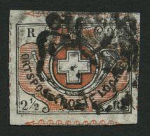 SCHWEIZ BUNDESPOST 4 O, 1850, 21/2 Rp. Schwarz/braunrot, Sog. Winterthur, Mit Kräftig Gestempelter Schwarze Zü