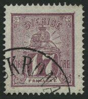SCHWEDEN 15a O, 1866, 17 Ö. Rotlila, Pracht, Fotoattest Obermüller, Mi. 140.-