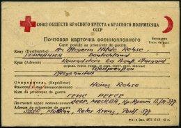 RUSSLAND 1946, Rotes Kreuz-Kriegsfangenen-Vordruckkartenbrief Von Russland Nach Deutschland, Mit Rückantwortkarte,