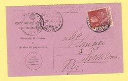 1926 Giubileo 60c. (d. 11) Sass. 189 Su Avviso Di Ricevimento - Storia Postale