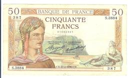 TTB BILLET CINQUANTE 50 FRANCS TYPE CERES CU 27 2 1936 - 1871-1952 Antichi Franchi Circolanti Nel XX Secolo