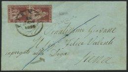 TOSCANA 4yb Paar BRIEF, 1856, 1 Cr. Braunkarmin, Graues Papier, Im Senkrechten Paar (Sassone Nr. 4e) Auf Brief Von PIENZ