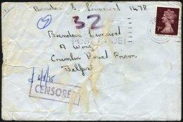 BRITISCHE MILITÄRPOST 667 BRIEF, 1975, 7 P. Dunkellilabraun Auf Brief An Brendon Leonard Im Crumlin Road Gefän