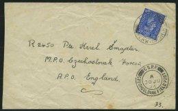 GROSSBRITANNIEN 1944, 21/2 P. Auf Feldpostbrief Nach England Mit Tschechischem Feldpoststempel, Feinst