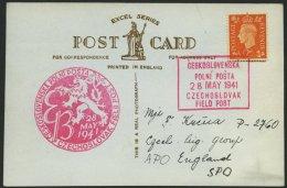 BRITISCHE MILITÄRPOST 1941, 2 P. Orange Auf Ansichtskarte Mit Tschechischem Feldpoststempel Nr. 1 Und 12, Pracht