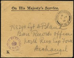 BRITISCHE MILITÄRPOST 1919, K2 ARMY POST OFFICE/P.B. 2 Auf Britischem Armee-Dienstbrief (OHMS) Und Violettem Zensur