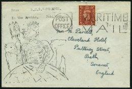 GROSSBRITANNIEN 223 BRIEF, 1949, 11/2 P. König Georg VI Auf Brief In Die Arktis Vom Englichen Kriegsschiff Vengeanc