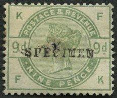 GROSSBRITANNIEN 80SP (*), 1883, 9 P. Dunkelgraugrün, Aufdruck SPECIMEN, Ohne Gummi, Feinst