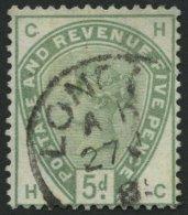 GROSSBRITANNIEN 78 O, 1884, 5 P. Dunkelgraugrün, Pracht, Mi. 160.-