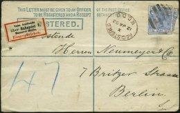 GROSSBRITANNIEN 59 BRIEF, 1882, 21/2 P. Dunkelkobalt, Wz. 11, Platte 22, Auf 2 P. Einschreibumschlag Nach Berlin, R-Zett