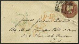 GROSSBRITANNIEN 6 BRIEF, 1854, 10 P. Rotbraun, Achteckig Geschnitten Auf Kleinem Brief Nach Paris, Feinst