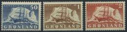 GRÖNLAND - DÄNISCHE POST 34-36 **, 1850, 50 Ø - 2 Kr. Arktisschiffe, 3 Prachtwerte, Mi. 98.-
