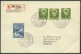 GRÖNLAND - DÄNISCHE POST 30,39 BRIEF, 1959, 10 (3x) Und 60 Ø Auf Einschreibbrief Mit Seltenem Stempel K