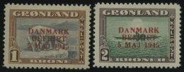 GRÖNLAND - DÄNISCHE POST 23/4 *, 1945, 1 Und 2 Kr. DANMARK/BEFRIET, Falzrest, 2 Prachtwerte