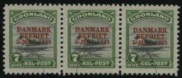 GRÖNLAND - DÄNISCHE POST 19 O, 1945, 7 Ø DANMARK/BEFRIET Im Waagerechten Dreierstreifen, Pracht, Mi. (2