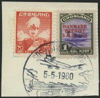 GRÖNLAND - DÄNISCHE POST 17,26 BrfStk, 1960, 1 Ø DANMARK/BEFRIET Mit 20 Ø Zusatzfrankatur Auf Pr