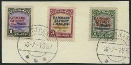 GRÖNLAND - DÄNISCHE POST 17-19 BrfStk, 1945, 1 - 7 Ø DANMARK/BEFRIET, Prachtbriefstück, Mi. 240.-