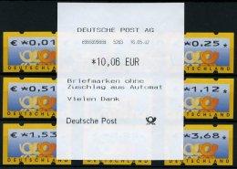 AUTOMATENMARKEN A 4.1 TS 1 **, 1.1.2002, Tastensatz 0.01 - 3.68 EUR Komplett, Pracht, Mi. 85.-