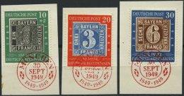BUNDESREPUBLIK 113-15 BrfStk, 1949, 100 Jahre Briefmarken Mit Rotem Ersttags-Sonderstempel, Prachtsatz