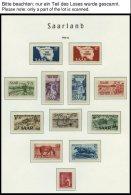 SAMMLUNGEN, LOTS **, In Den Hauptnummern Postfrisch Komplette Sammlung Saarland Von 1947-59, Block 1 Fingerabdruck Auf D