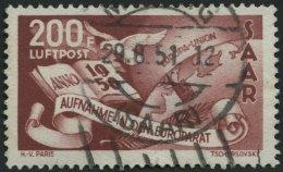 SAARLAND 298 O, 1950, 200 Fr. Europarat, Feinst (kleine Aufrauhung), Gepr. Ney, Mi. 310.-