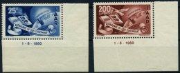 SAARLAND 297/8Br **, 1950, Europarat, 2 Randstücke Mit Druckdatum 1.8.1950, Pracht, Mi. 550.-