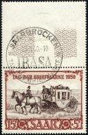 SAARLAND 291 O, 1950, 15 Fr. IBASA Mit Oben Anhängendem Leerfeld, Ersttags-Sonderstempel, Pracht, Gepr. Ney