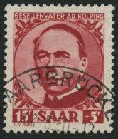 SAARLAND 289 O, 1950, 15 Fr. Kolping, Pracht, Gepr. Geigle, Mi. 100.-