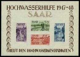 SAARLAND Bl. 1 **, 1948, Block Hochwasserhilfe, Feinst (minimale Beanstandungen Im Rand), Mi. 1000.-