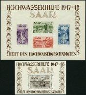 SAARLAND Bl. 1/2 **, 1948, Blockpaar Hochwasserhilfe, Pracht, Fotoattest Chritine Ney, Mi. 1600.-