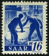 SAARLAND 231IIfAG **, 1947, 4 Fr. Auf 16 Pf. Violettultramarin, Ohne Aufdruck, Druck Auf Der Gummiseite, Pracht, Gepr. H