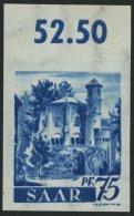 SAARLAND 222XP **, 1947, 75 Pf. Dunkelultramarin, Wz. 1X, Ungezähnter Probedruck Vom Oberrand, Pracht, Fotoattest G