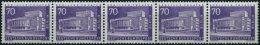 ROLLENMARKEN 152R **, 1956, 70 Pf. Schillertheater Im 5er-Streifen Mit Ungerader Nummer, Pracht, Mi. 480.-