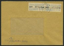 DIENSTMARKEN B D 26V Paar BRIEF, 1959, 10 Pf. Lebhaftgraublau/schwarz, Buchstabe V, Im Waagerechten Paar Auf Fensterumsc