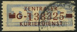 DIENSTMARKEN B D 20IIG O, 1958, 10 Pf. Violettultramarin/braunrot, Buchstabe G, Mit Abart Zwei Klötze über Lin