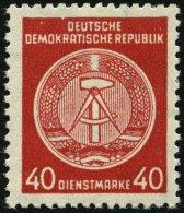 DIENSTMARKEN A D 33XI **, 1956, 40 Pf. Rot, Faserpapier, Wz. 2XI, Pracht, Gepr. Jahn, Mi. 80.-