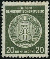 DIENSTMARKEN A D 32IIXI *, 1956, 20 Pf. Schwarzgelboliv, Faserpapier, Type II, Wz. 2XI, Falzrest, Pracht