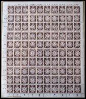 DIENSTMARKEN A D 27XII **, 1954, 70 Pf. Siena, Wz. 2XII, Im Bogen (100) Mit Druckerei-Vermerk, Pracht, Mi. (300.-)