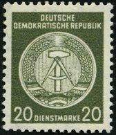 DIENSTMARKEN A D 22IXII **, 1954, 20 Pf. Schwarzgelboliv, Type I, Wz. 2XII, Pracht, Gepr. Jahn, Mi. 350.-